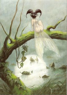 pascal moguerou art   poste par encre de reve a 14 00 commentaires 0 permalien Magical Creatures, Fantasy Creatures, Drawing Female Body, Fairy Paintings, Anime Monsters, Mermaid Fairy, Angel Pictures, Fantasy Illustration, Fairy Art
