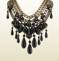 GUCCI multi-chain necklace with black pendants