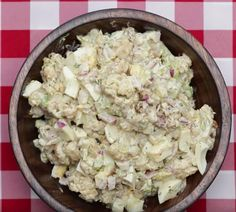 Who said potato salad couldn't be healthy? Try this cauliflower 'potato' salad for your next barbeque! Via Goodful Cauliflower Potatoes, Cauliflower Salad, Cauliflower Recipes, Roasted Cauliflower, Roasted Potatoes, Low Carb Recipes, Vegetarian Recipes, Cooking Recipes, Healthy Recipes