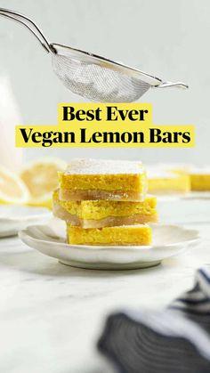 Vegan Dessert Recipes, Vegan Sweets, Vegan Snacks, Healthy Snacks, Snack Recipes, Healthy Recipes, Vegan Food, Vegan Lemon Bars, Vegan Substitutes