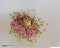'THE BED OF ROSES'. Rose Nest painting original bird nest watercolor art by 4WitsEnd, via Etsy  SOLD