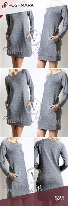 "Sweatshirt Dress with Pockets STUNNING FRENCH TERRY RAGLAN SLEEVE SWEATSHIRT DRESS TOTAL LENGTH: 34"" for small, 34.5"" Med, 35"" large 70% COTTON, 30% POLYESTER - cold water wash, lay flat to dry. S(2-4) M(6-8) L(10-12) - price firm unless bundled. Others selling for $45, get them here for less! I have other colors in stock. Check other listings to see. ValMarie Boutique Dresses"