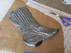 making a spats pattern using duct tape