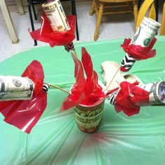 Cute idea!!! A bouquet made of Mini liquor bottles wrapped with cash ($21) for 21st bday!!! Liquor Gift Baskets, Mini Liquor Bottles, Fundraising, Christmas Ideas, Wrapping, Bouquet, Happy Birthday, Wraps, 21st