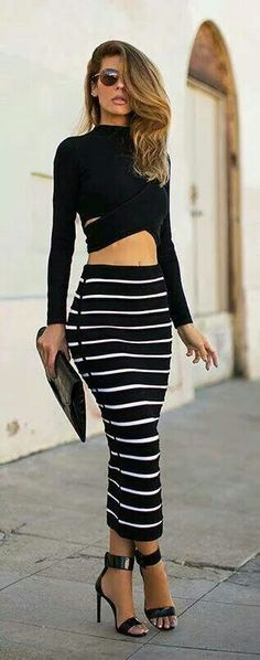 Cute crop to blk long sleeve top with Blk & white stripped skirt and blk sandle heels...(totally my style)