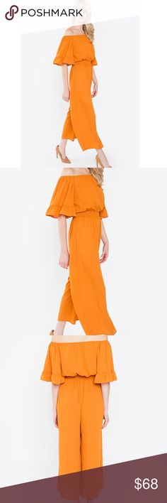 🆕Emelia Off the Shoulder Jumpsuit Pantsuit New Boutique Item. The Emelia Jumpsuit features an off the shoulder silhouette, cropped Hem, elasticized waistline, wide legs, partially lined, and a Rust Amber Color! Pair with my Blush Fiona Slides & Penelope Crossbody to complete the look! Pants Jumpsuits & Rompers