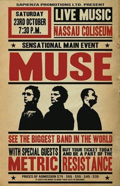 Tour Posters, Band Posters, Pop Rock, Rock And Roll, Muro Rock, Muse Muse, Concert Rock, Rock Music Quotes, Concert Posters