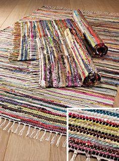 Multi Colour Recycled Cotton Rag Rug 60 x > Cotton Rag Rugs > Rugs > Home Furnishings > Namaste Fair Trade > Namaste-UK Ltd Rug Loom, Loom Weaving, Hand Weaving, Fabric Crafts, Sewing Crafts, Rag Rug Diy, Diy Rugs, Diy Crochet Rag Rug, Crochet Granny