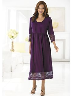 Lace-trimmed Knit Dress. Love the dress in purple  On my list for spring.