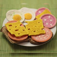 Crochet Knitting Food Patterns - Fried Egg, Boiled Sausage, Bread, Swiss Cheese