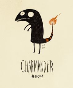 'Charmander' by artist Hat Boy (Vaughn Pinpin). Post: Pokemon If They Were Created By Tim Burton. via buzzfeed
