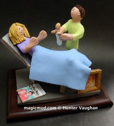 OB-GYN Doctor's Gift Figurine where else can you get any kind of medical specialist a made to order figurine??!! These gifts are perfect for graduations, retirements, birthdays, anniversaries, .. or to give thanks to the individual who saved your life etc...Any professions or hobbies can easily be incorporated into a personalized cake topper for you.... 1-800-231-9814 or visit us at www.magicmud.com…