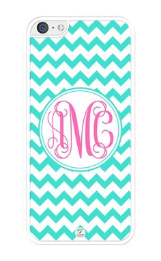 """iZERCASE Monogram Personalized Turquoise Chevron with Pink Initials Pattern iPhone 5C Case - Fits iPhone 5C T-Mobile, AT&T, Sprint, Verizon and International (White). PERSONALIZATION: Please, click """"CUSTOMIZE NOW"""" button and type your monogram. ENTER FIRST AND THIRD LETTERS IN LOWER CASE AND 2ND LETTER IN UPPER CASE (example: aBc). DON'T WORRY IF YOUR MONOGRAM IS NOT PERFECTLY CENTERED. OUR DESIGNERS WILL CENTER IT BEFORE PREPARING YOUR ITEM. MODEL COMPATIBILITY: Fits T-Mobile, AT&T…"""