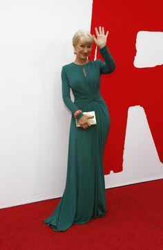 Helen Mirren in green Elie Saab gown at Red 2 film premiere in Los Angeles, Ca 2013