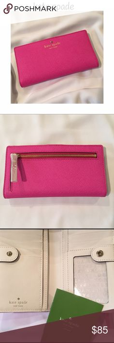 "Authentic ♠️ kate spade pink wallet! Authentic kate spade wallet in beautiful pink (vivid snapdragon) leather, trimmed in gold, with creamy color inside. Has 12 credit card slots and drivers license slot. Measures 6 3/4"" x 3 1/2"". Opens to 6 3/4"" x 7 1/2"" kate spade Bags Wallets"