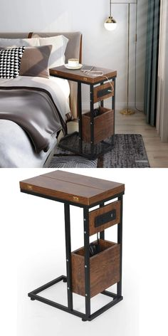 Side Table Decor, Table Decor Living Room, Living Room Furniture, Home Furniture, Furniture Design, Welded Furniture, Side Table With Storage, Metal Side Table, Room Design Bedroom