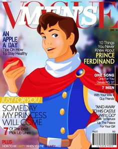 Snow White's Prince FerdinandCharming on Men's Vogue.And Thus, this begins my collection of Disney Prince Magazines Disney Girls, Disney Love, Disney Magic, Disney Pixar, Walt Disney, Disney Characters, Disney Princesses, Disney Stuff, Disney Dudes