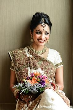 A bride gets ready for her big day. her make up