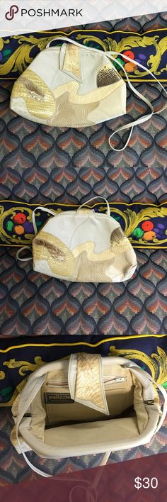 """PALIZZIO ACCESSORIES Vintage 80's Leather Purse Shades of creams, browns and gold tones on leather and faux snakeskin textures. Beautiful and like new! 12"""" wide 9"""" tall 22"""" strap could be used as a cross body or tied in a knot 80's style for a shoulder bag! Vintage Bags Crossbody Bags"""