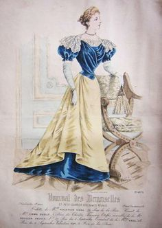 1894. yellow-blue dinner dress, Journal des Demoiselles