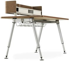 Furniture. Amazing Modern Hardwood Desk To Ease Your Workflow By Artifox: Combination Simple Wooden And Stainless For Office Desk Workstation Computer With High Feets And Shelf Stainless Furniture ~ wegli