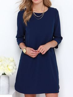 Navy Keyhole Back 3/4 Sleeve A-line Dress