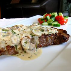 Dragon's Kitchen: Grilled Steak with Mushroom Tarragon Cream Sauce. Sauce would probably go well with chicken or fish too