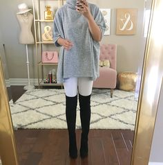Nordstrom Anniversary #Nsale early access haul reviews, turtleneck poncho, white jeans, black over the knee OTK boots, fall outfit, fall fashion