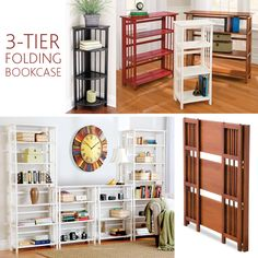 Folding Bookcases – Add storage to just about any small space or stack them together to make a large wall unit.