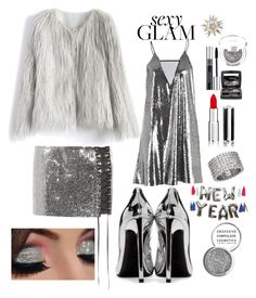 """""""Party Glam look"""" by kotnourka ❤ liked on Polyvore featuring beauty, Anthony Vaccarello, McQ by Alexander McQueen, Yves Saint Laurent, Chicwish, Obsessive Compulsive Cosmetics, Meri Meri, Givenchy, Christian Dior and Chantecaille"""