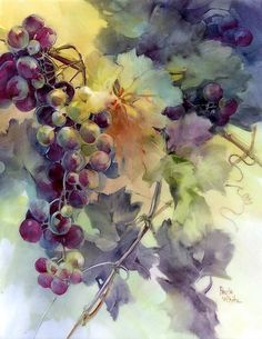 subject by porcelain artist and china painting teacher, Paula White Watercolor Fruit, Fruit Painting, China Painting, Watercolor Flowers, Watercolor Paintings, Watercolors, Paula White, Pintura Country, Decoupage Vintage