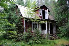 Lovely abandoned cabin in the woods .