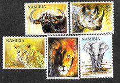 Namibia 1199-1203 Mint Never Hinged Wildlife Elephant Lion Rhino Leopard Buffalo