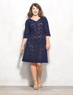 Plus Size Navy Lace Dress