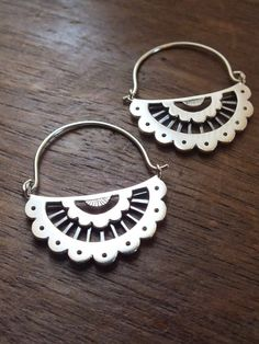 Scalloped lace hoop earrings - handcrafted sterling silver lace jewelry