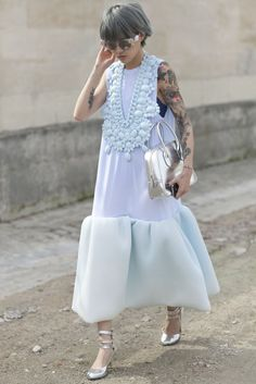The Best Street Snaps at Paris Fashion Week The most serene mint hue with the boldest of necklaces.The most serene mint hue with the boldest of necklaces. Moda Fashion, Trendy Fashion, Spring Fashion, Fashion Show, Womens Fashion, Fashion Fashion, Runway Fashion, Fashion Tips, Fashion Trends