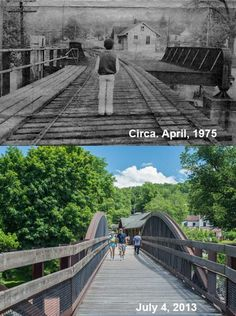 The changes made to the Low Bridge at Ohiopyle. The railroad was converted to trail after the abandonment of the Western Maryland Railway.