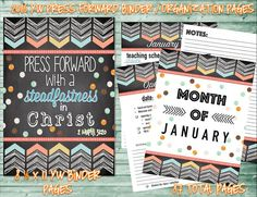 2016 Press Forward Binder Organization - Use with your YW presidency to help keep you on track and organized each month.  Purchase at amysbasketdesigns.etsy.com
