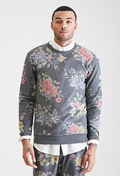 Rose Print Sweatshirt - Promo_21MensHoodiesTees - Promo_21MensHoodiesTees_02Hoodies - Sweatshirts & Hoodies - 2000117162 - Forever 21 UK