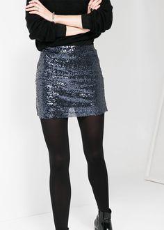 Sequin miniskirt/tights