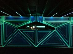 The DJ booth in the Bunker at Global Gathering. #TheHaloGroup #DJ #DJBooth #BespokeDJBooth #CreativeLighting #Projection