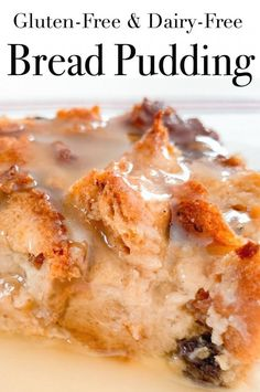 This easy to make bread pudding has a delicious vanilla sauce to pour over the top. This is a delicious comfort food to serve family and friends. It's gluten-free, dairy-free and made with low sugar. Weight Watchers 9 Smart Points #glutenfree #breadpudding #weightwatchers