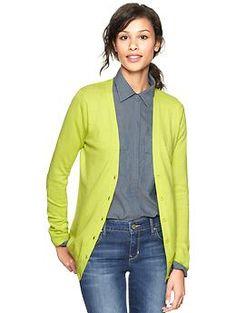 Luxlight V-neck cardigan   Gap. 70/20/10 cotton nylon silk. 6 solids. $44.95