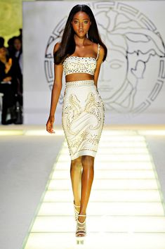 Versace SS13 - studded embellishments. White pencil skirt with cropped white top.