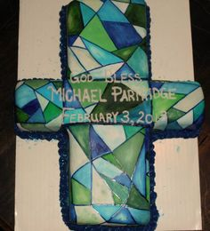stained glass looking baptism cross cake