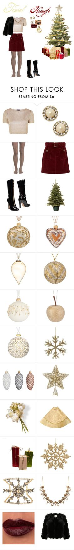 """Tinsel Kringle"" by cammy-2396 ❤ liked on Polyvore featuring Topshop, Kate Spade, Nordstrom, AlexaChung, Valentino, Hostess, John Lewis, Parlane, National Tree Company and Alexis Bittar"