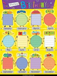 Awesome BIRTHDAY CHARTS FOR KINDERGARTEN Birthday Charts For Kindergarten Chart Classroom Robot