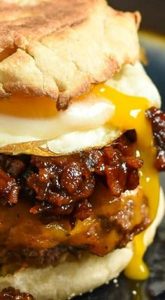 Breakfast Burger with Bourbon Bacon Jam ~ Piled high with Bourbon Bacon Jam, mel… Breakfast Burger with Bourbon Bacon Jam ~ Piled high with Bourbon Bacon Jam, melty cheese, and a fried egg… A breakfast game changer! Bacon Jam Burger, My Burger, Burger With Egg, Fried Egg Burger, Burger Food, Breakfast Desayunos, Breakfast Dishes, Breakfast Recipes, Paninis