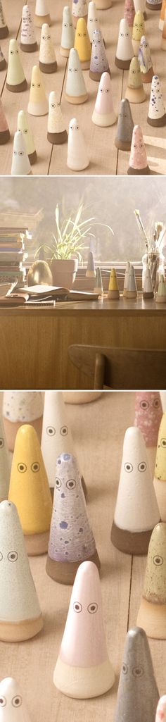Ghosts. Based on the ideas of the Japanese Shinto religion believing that everything in nature has a soul, Anders Arhøj & Louise Gaarmann designed a wide range of ceramic figures and blew life into them.  The small Ghosts inhabit your living space and are useful for many things - paper weights, door stoppers, toys, wedding ring holders, kitchen talismans or as company on a lonely night with no friends around to talk to. Available at: http://www.arhoj.com/front/ghosts