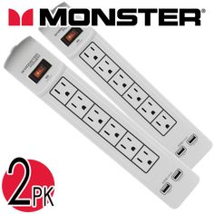 Monster Surge Protector Power Strip with 2 USB Ports Number of Outlets: 6 Diagnostic LEDs: Yes 2 USB ports Protect your connected devices from power surges WARRANTY 90 days Chemical Free Cleaning, Sport Earbuds, Shop Up, Tech Gifts, Retail Therapy, Power Strip, Cool Things To Make, Usb, Stone Mountain